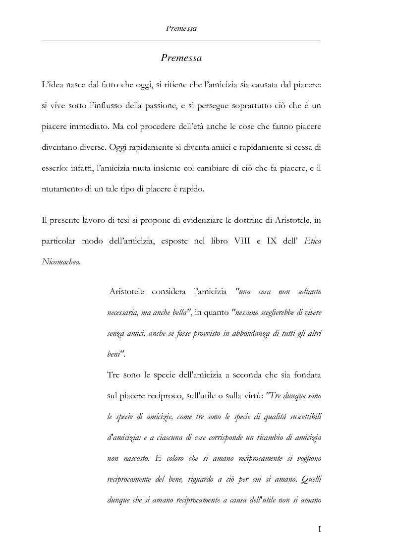 Anteprima della tesi: Il concetto di amicizia in Aristotele, Pagina 1
