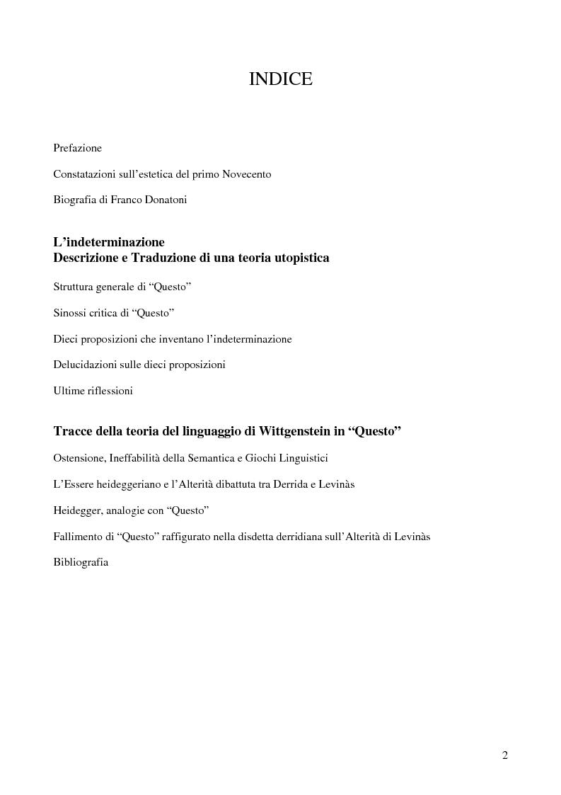 Indice della tesi: ''Questo'' di Franco Donatoni, ipotesi di lettura dell'indeterminazione, Pagina 1