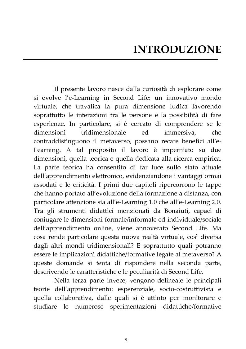 Anteprima della tesi: Formatori: avatar per caso. Viaggio alla scoperta dell'e-Learning in Second Life., Pagina 1