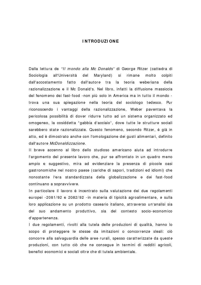 Anteprima della tesi: Produzioni di origine controllata nel settore lattiero-caseario in Italia, Pagina 1