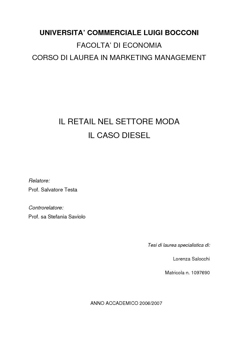 Anteprima della tesi: Il retail nel settore moda. Il caso Diesel., Pagina 1