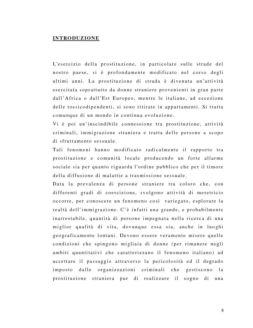 Anteprima della tesi: Il fenomeno della prostituzione straniera: forme, riferimenti legislativi e misure di intervento territoriale, Pagina 1
