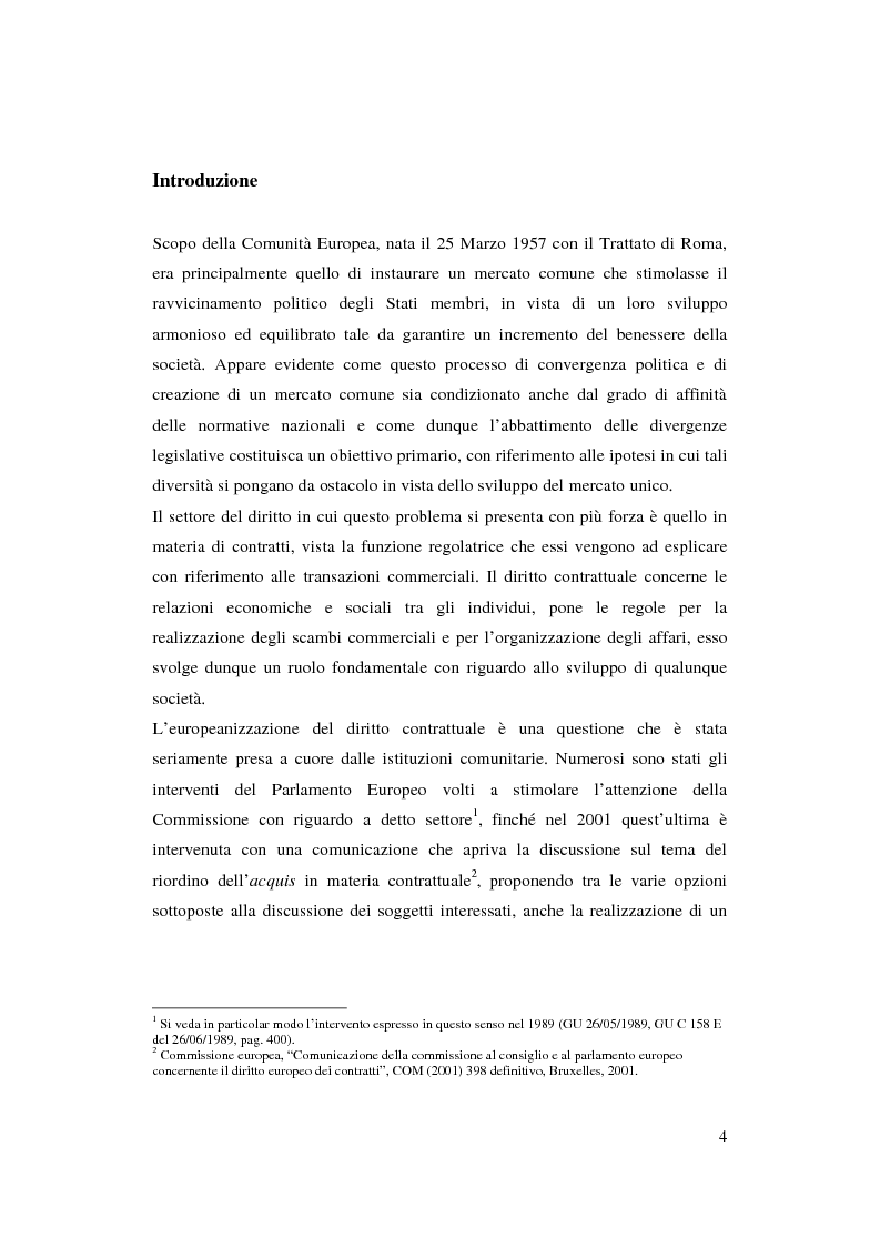 Anteprima della tesi: Armonizzazione del diritto contrattuale europeo e spunti di codificazione: profili di diritto privato europeo, Pagina 1