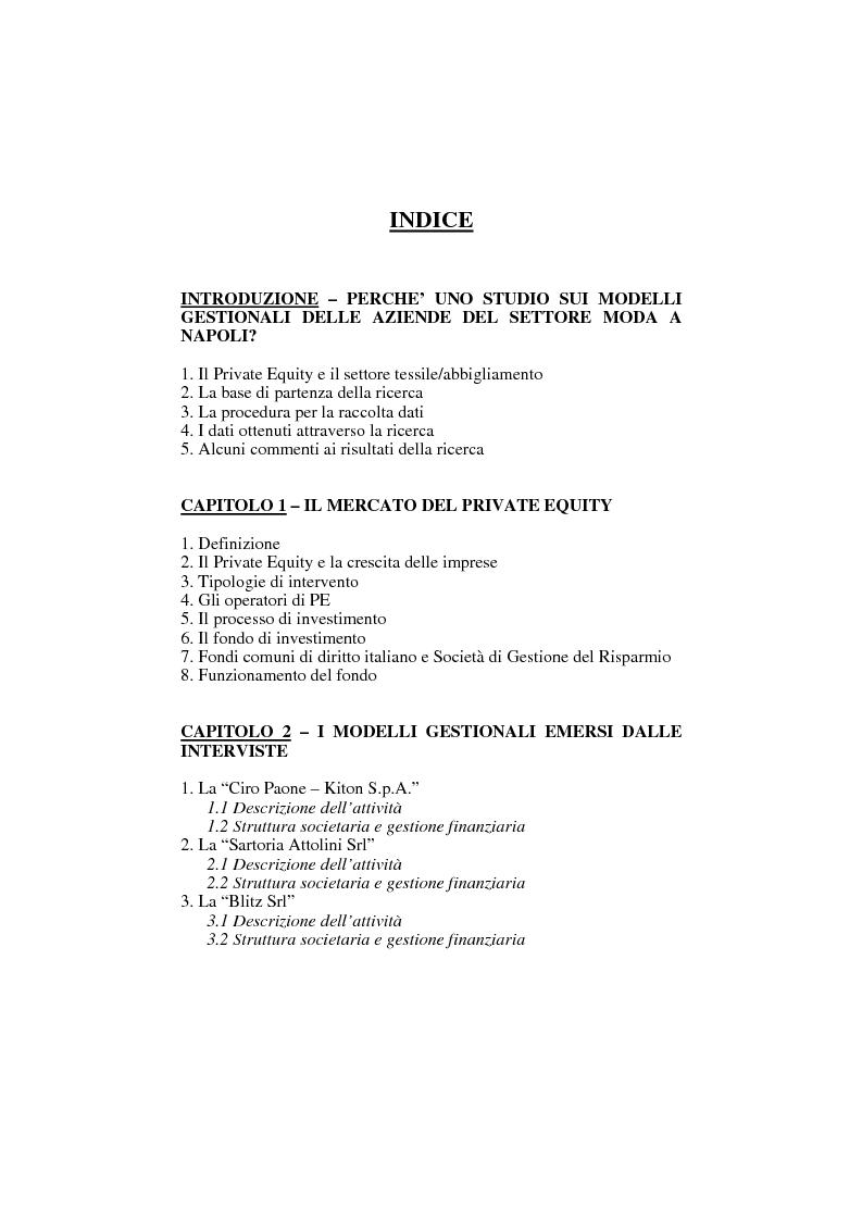 Indice della tesi  Le aziende del settore moda abbigliamento nella  provincia di Napoli  d1aeeabba466