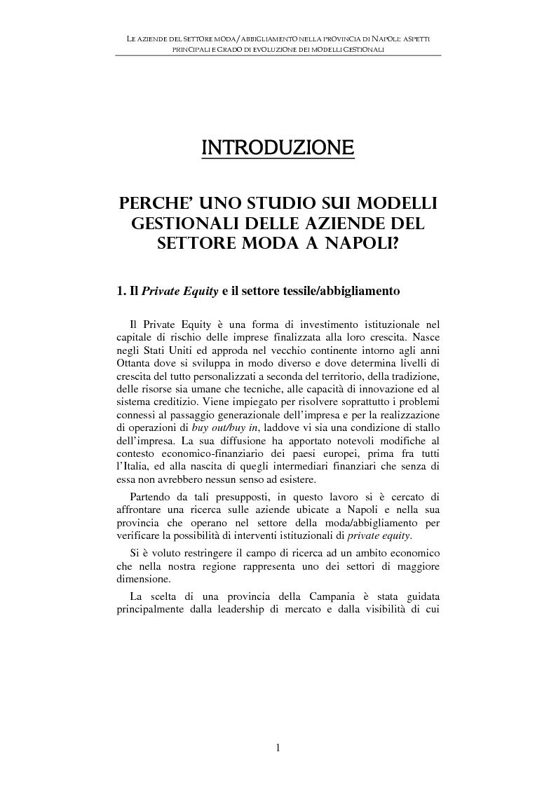 Le aziende del settore moda/abbigliamento nella provincia di Napoli: aspetti principali e grado di evoluzione dei modell...