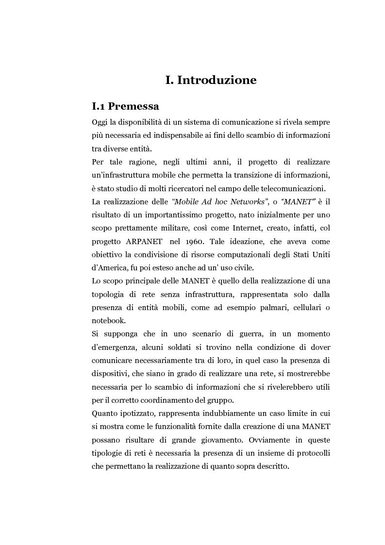 Anteprima della tesi: Progettazione e valutazione di un protocollo di trusting per reti manet, Pagina 1