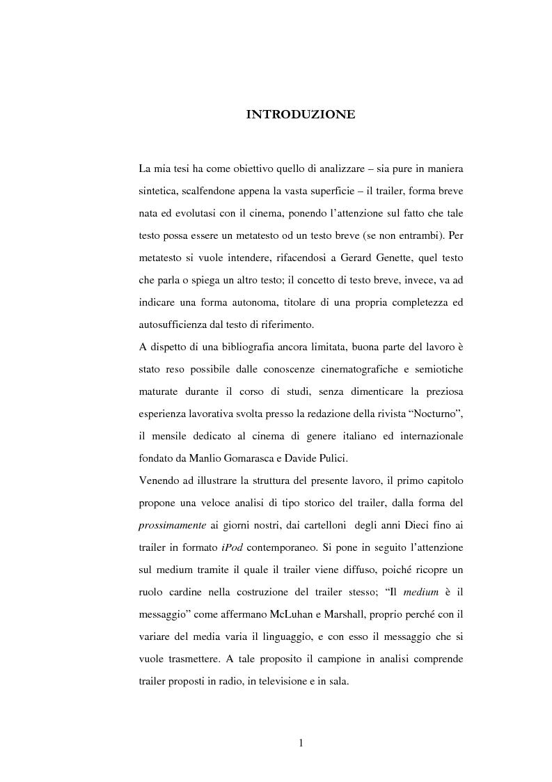 Anteprima della tesi: Anatomia del trailer: metatesto o testo breve?, Pagina 1