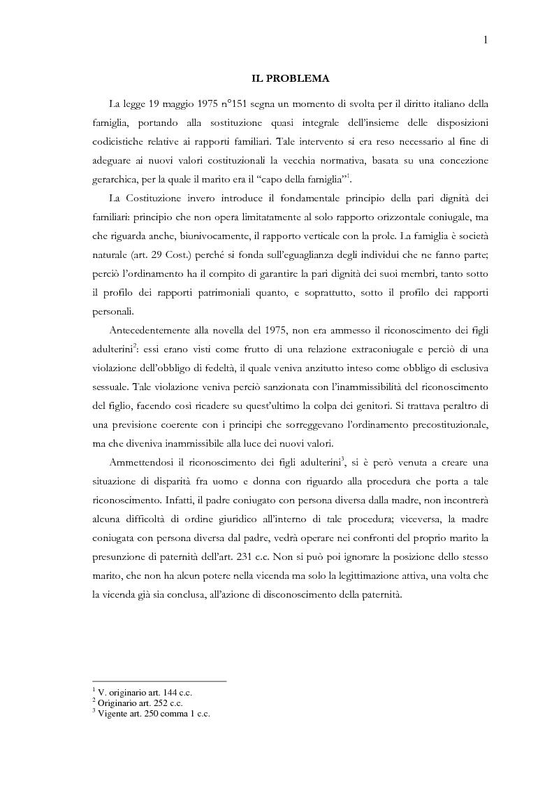 Riconoscimento dei figli adulterini da parte di madre coniugata - Tesi di Laurea
