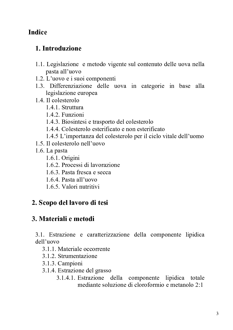 Analisi del contenuto di colesterolo e di grasso nelle for Aggiunte di legge