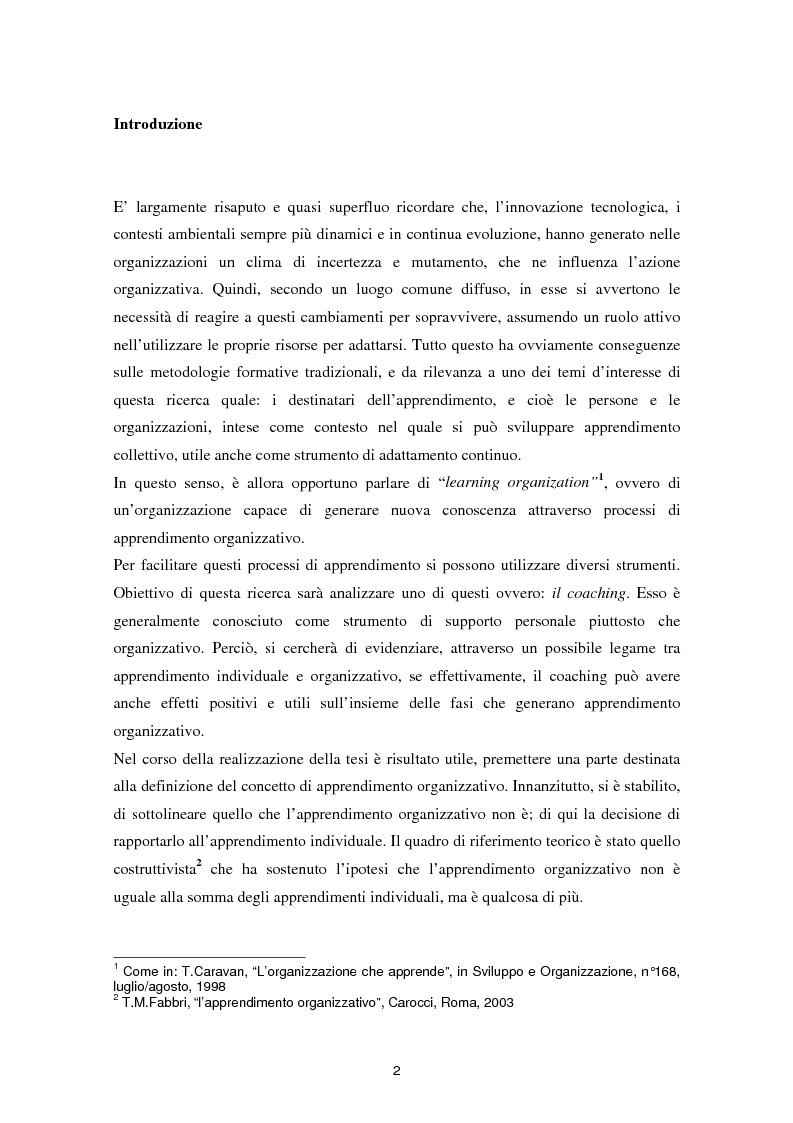 Anteprima della tesi: Il coaching come leva per l'apprendimento organizzativo, Pagina 1