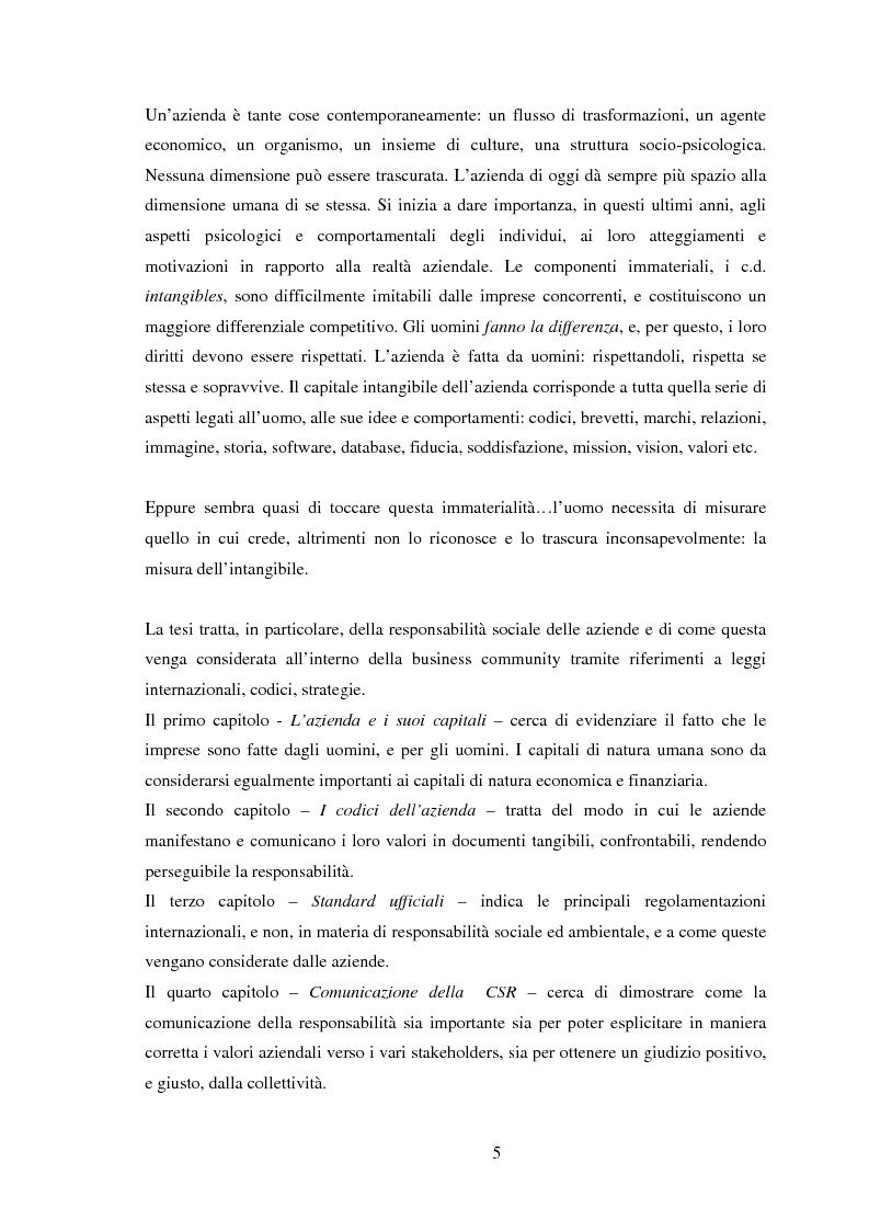 Anteprima della tesi: La misura dell'intangibile - La comunicazione della responsabilità sociale d'impresa - Il caso IndesitCompany, Pagina 1
