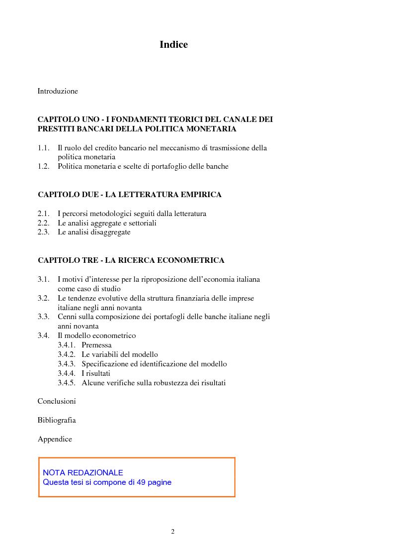 Prestiti bancari e politica monetaria in italia alcune for Struttura politica italiana