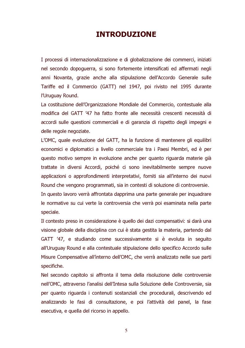 Anteprima della tesi: I dazi compensativi nel diritto dell'OMC: il caso DS138 (USA-CE), Pagina 1
