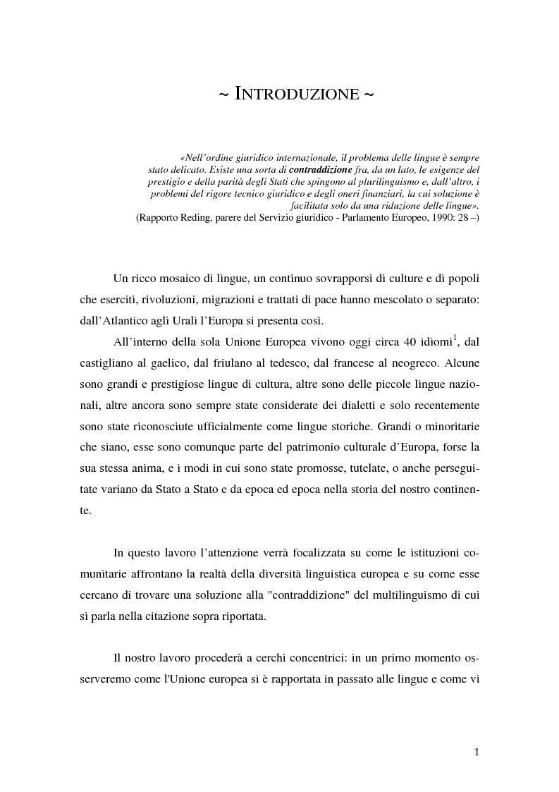 Anteprima della tesi: La relazione fra costi economici e costi politici del multilinguismo nell'Unione europea, Pagina 1