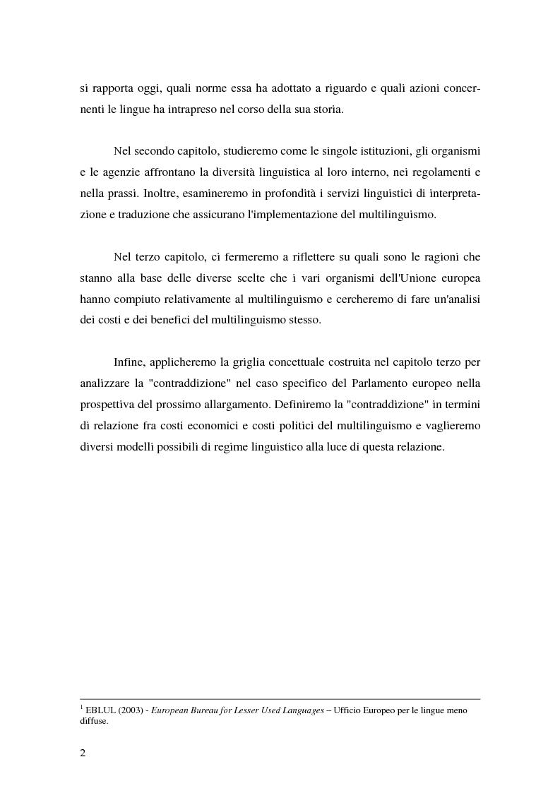 Anteprima della tesi: La relazione fra costi economici e costi politici del multilinguismo nell'Unione europea, Pagina 2