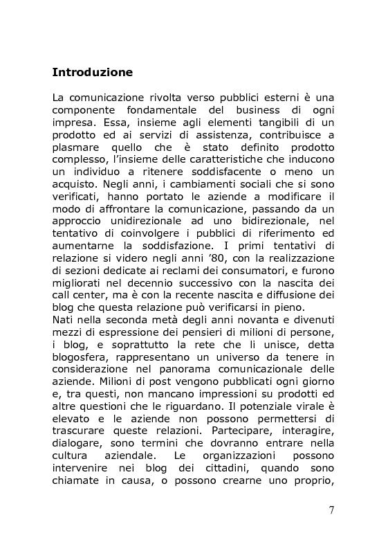 Anteprima della tesi: Dal personal blog al corporate blog: un nuovo strumento di comunicazione aziendale, Pagina 1