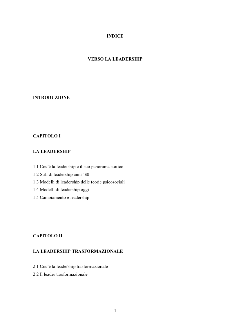 Indice della tesi: Verso la leadership, Pagina 1