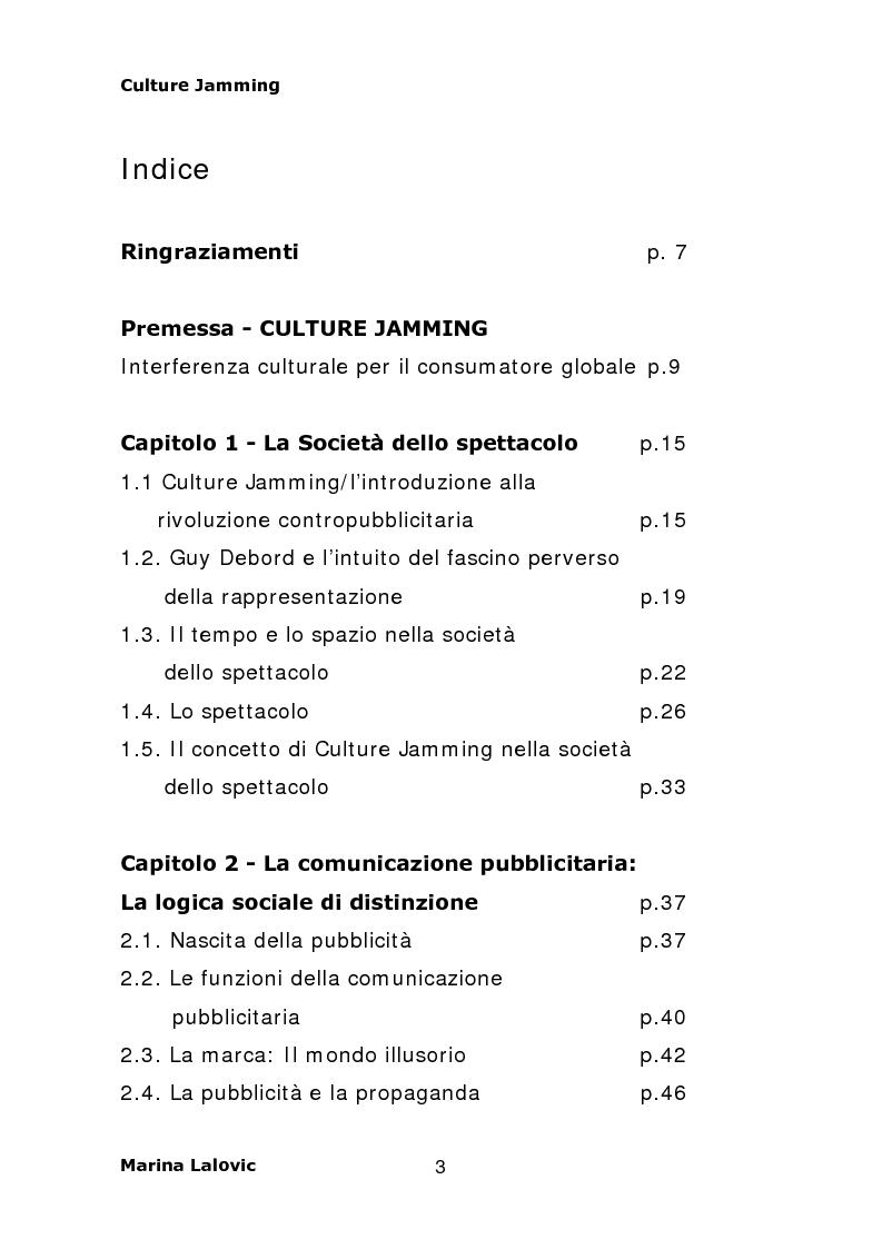 Indice della tesi: Culture Jamming, interferenza culturale per il consumatore globale, Pagina 1