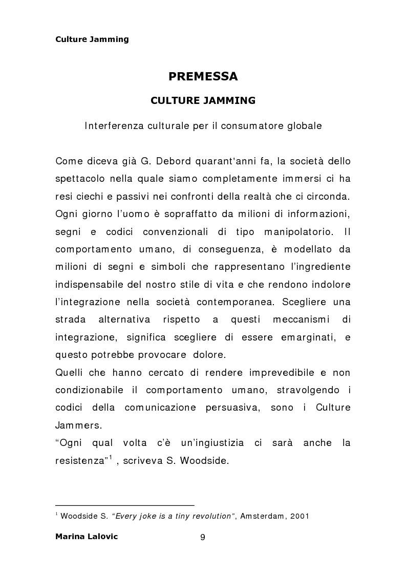 Anteprima della tesi: Culture Jamming, interferenza culturale per il consumatore globale, Pagina 1