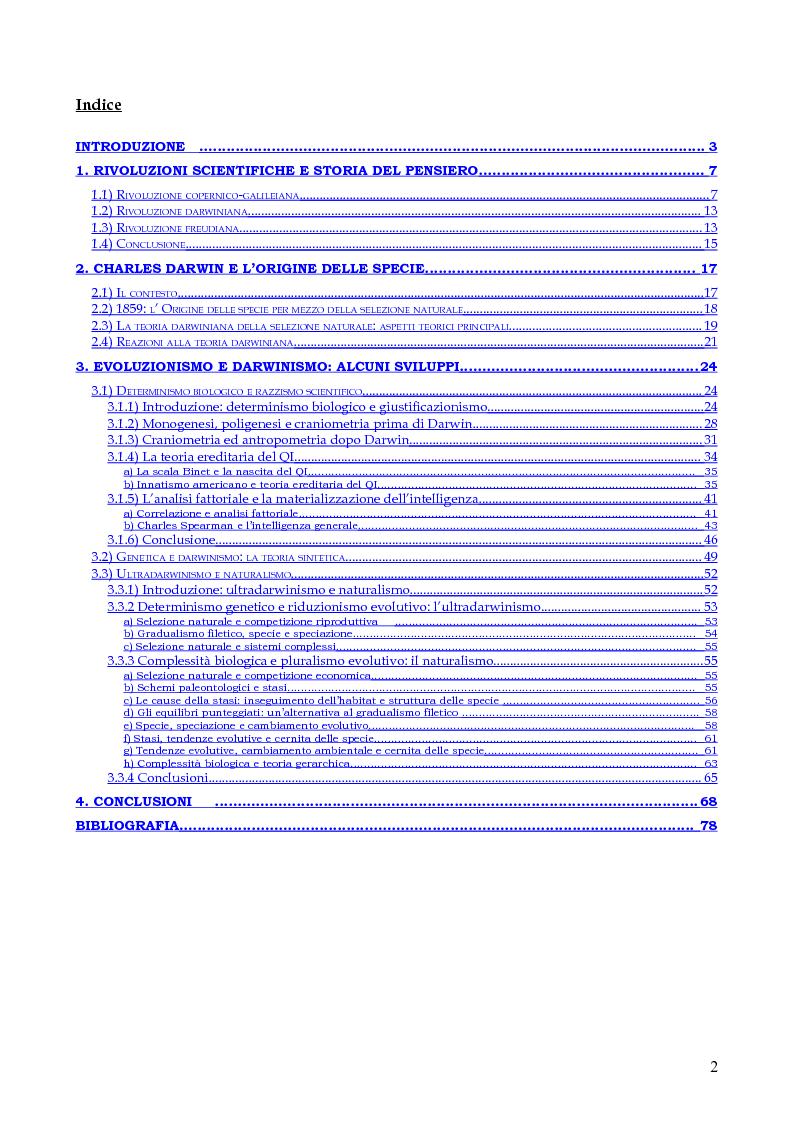 Indice della tesi: Contingenza e determinismo nelle teorie evolutive. L'approccio neodarwinista di Stephen Jay Gould., Pagina 1