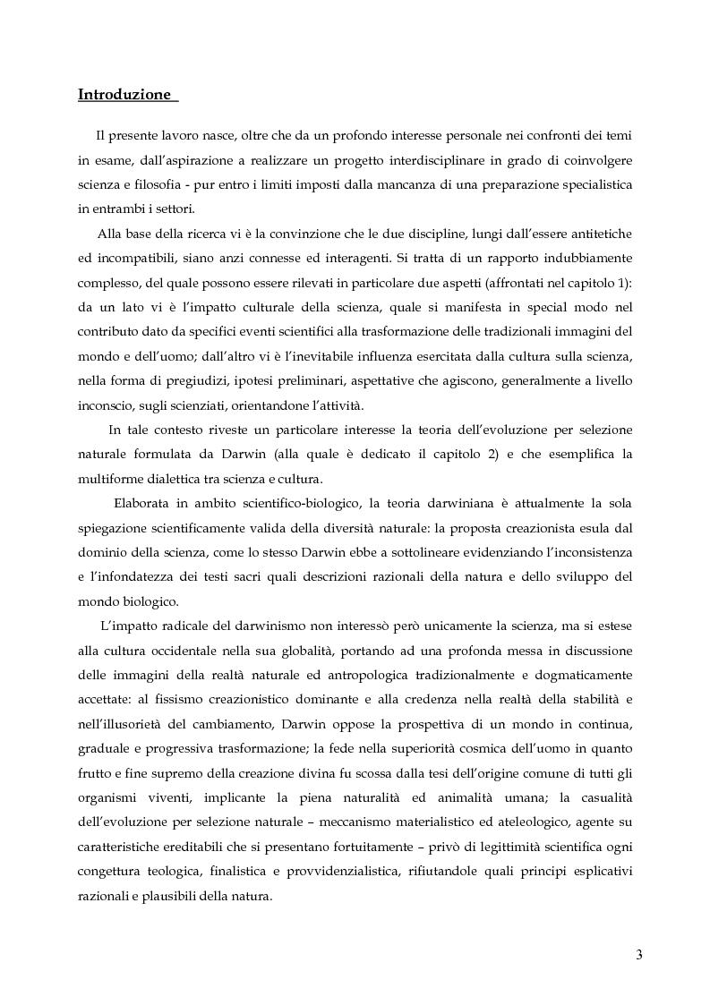 Anteprima della tesi: Contingenza e determinismo nelle teorie evolutive. L'approccio neodarwinista di Stephen Jay Gould., Pagina 1