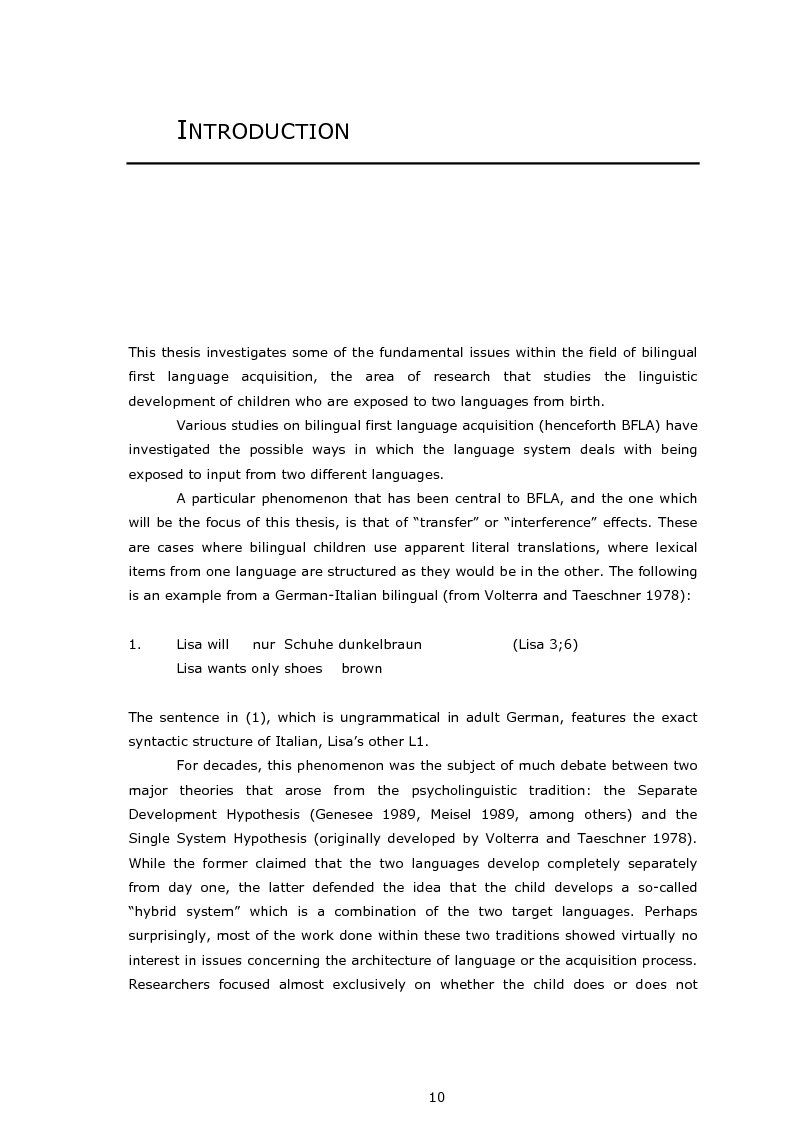 First language acquisition dissertation