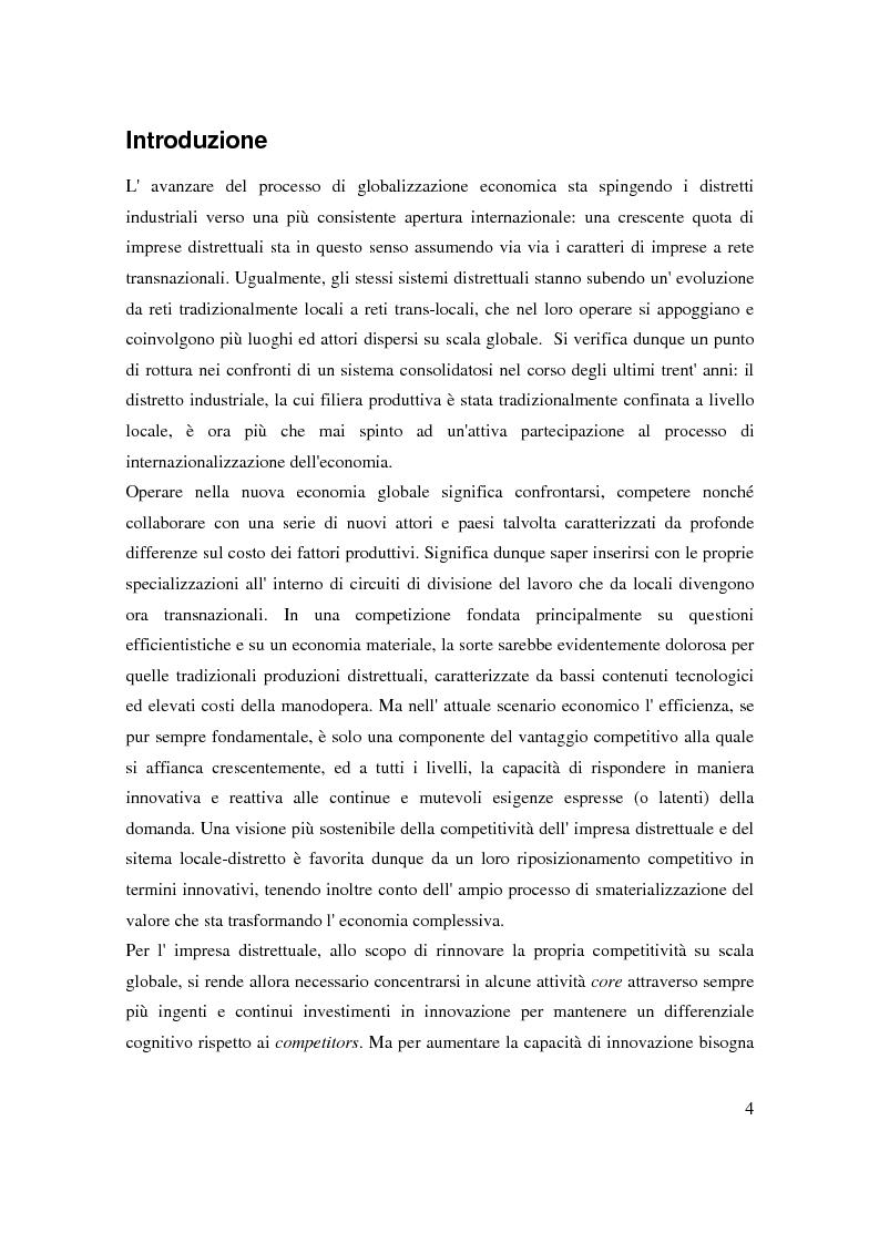 Anteprima della tesi: Strategie di internazionalizzazione di un'impresa leader distrettuale: verso la rete transnazionale. Il caso Lotto Sport Italia S.p.a., Pagina 1