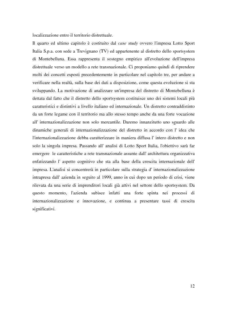 Anteprima della tesi: Strategie di internazionalizzazione di un'impresa leader distrettuale: verso la rete transnazionale. Il caso Lotto Sport Italia S.p.a., Pagina 9