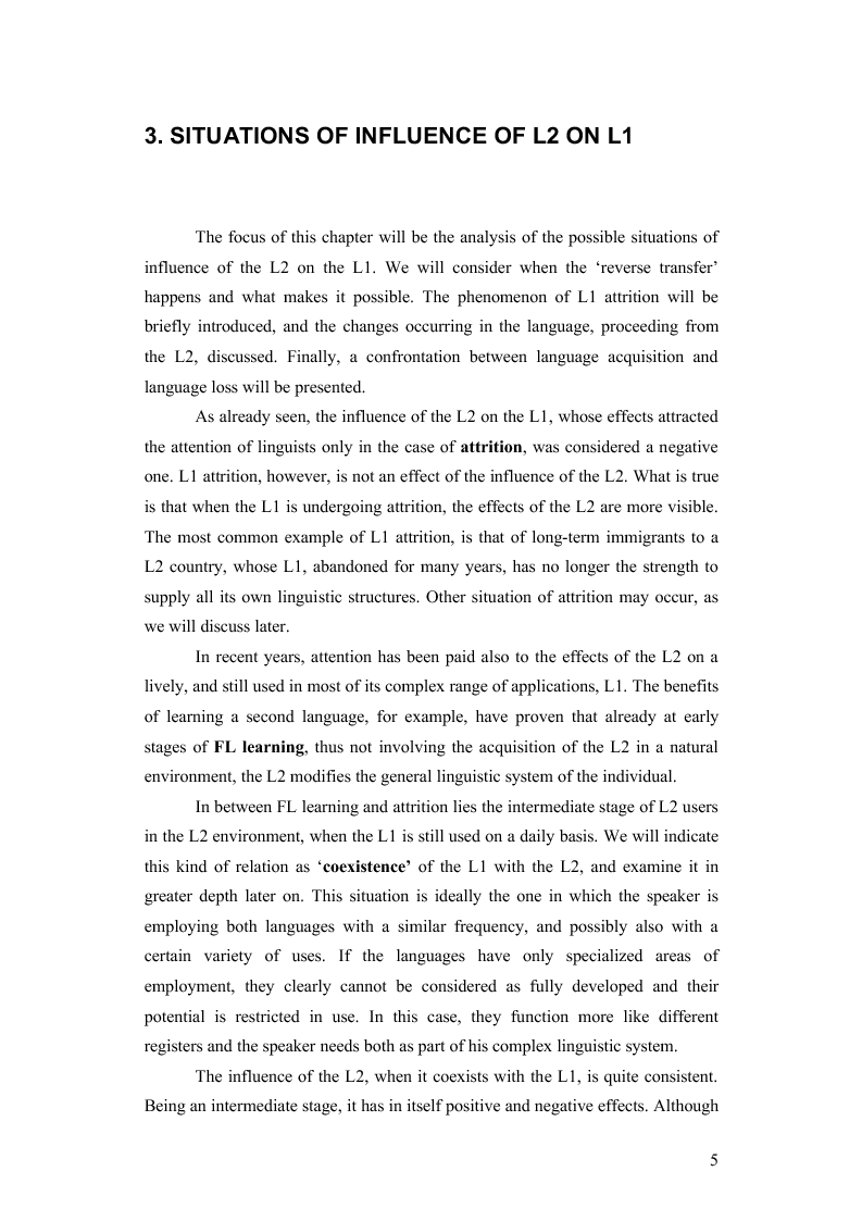 Preview of the thesis: How the Learning of a Second Language Affects the First Language of an Individual: The Italian of Monolingual and Multilingual Speakers, Page 5