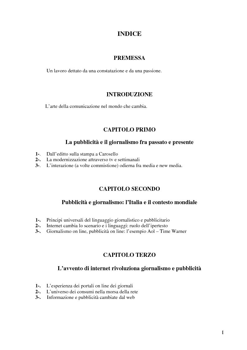 Indice della tesi: Le nuove forme di comunicazione su Internet e l'interazione fra giornalismo e pubblicità nell'era digitale e dell'on line, Pagina 1