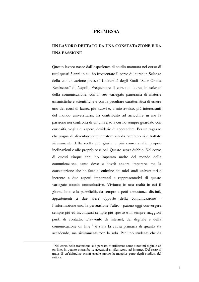 Anteprima della tesi: Le nuove forme di comunicazione su Internet e l'interazione fra giornalismo e pubblicità nell'era digitale e dell'on line, Pagina 1