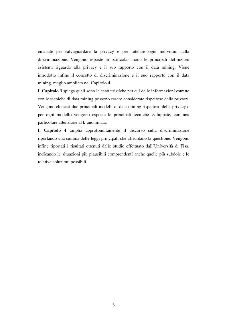 Anteprima della tesi: Protezione della privacy e prevenzione della discriminazione nel data mining, Pagina 6