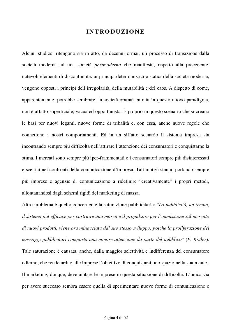 Anteprima della tesi: Guerrilla Marketing: Come comunicare con il consumatore post-moderno, Pagina 1
