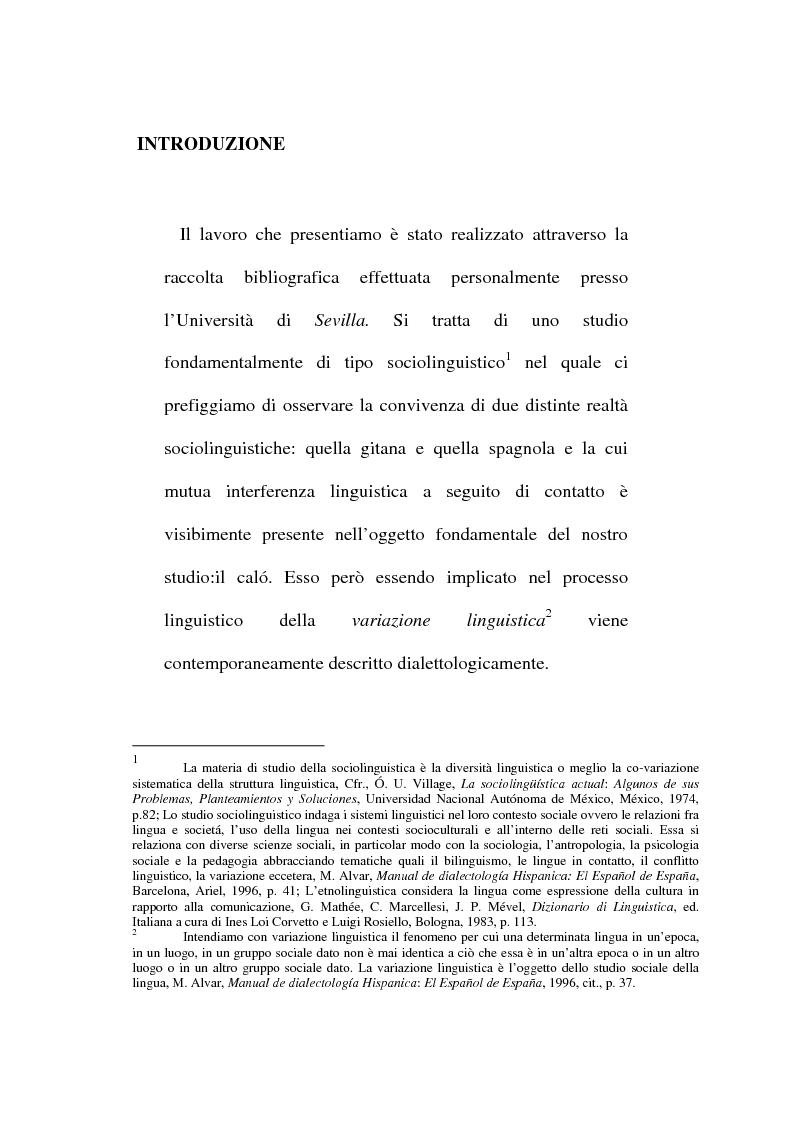 Anteprima della tesi: Il lessico caló dei gitani e i testi di Camarón de la Isla, Pagina 1