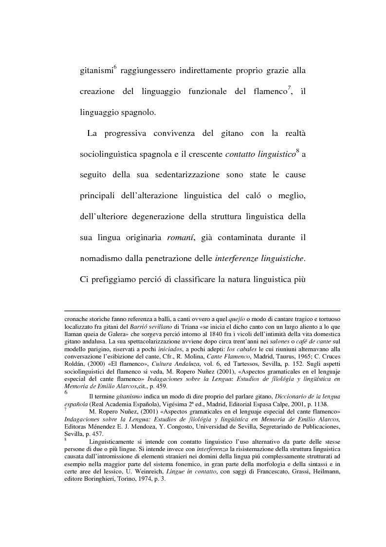 Anteprima della tesi: Il lessico caló dei gitani e i testi di Camarón de la Isla, Pagina 3