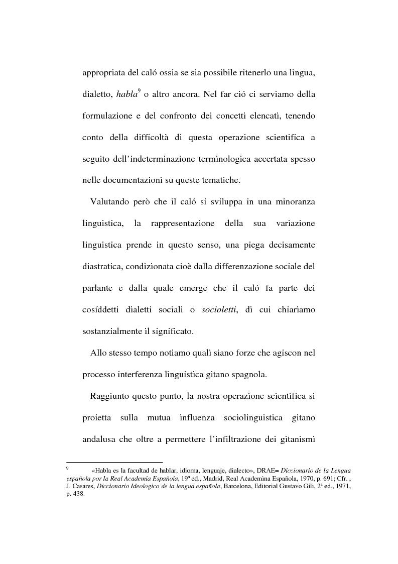 Anteprima della tesi: Il lessico caló dei gitani e i testi di Camarón de la Isla, Pagina 4