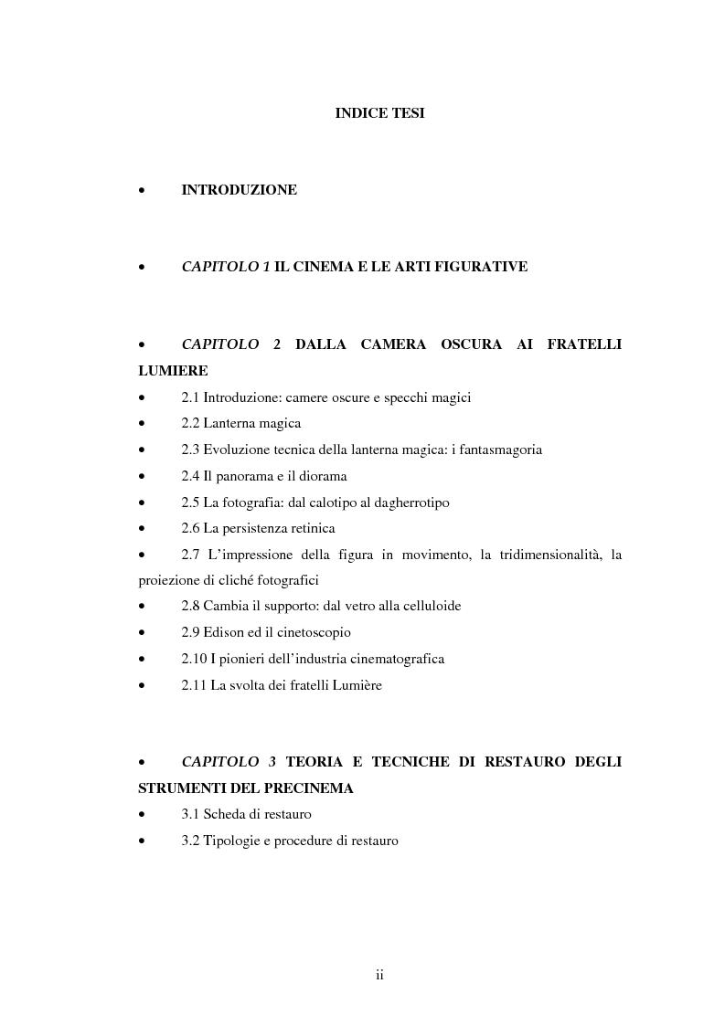 Indice della tesi: Gli strumenti del precinema e la pellicola cinematografica: storia, conservazione, restauro, Pagina 1