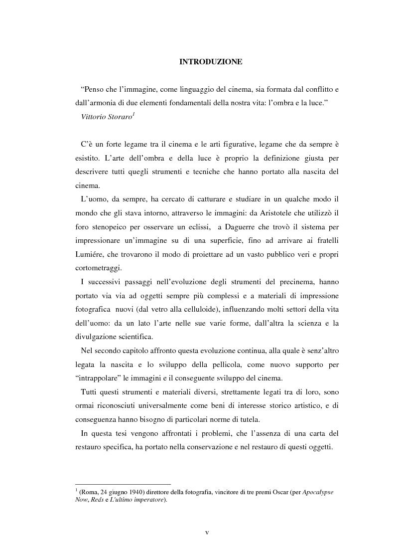Anteprima della tesi: Gli strumenti del precinema e la pellicola cinematografica: storia, conservazione, restauro, Pagina 1