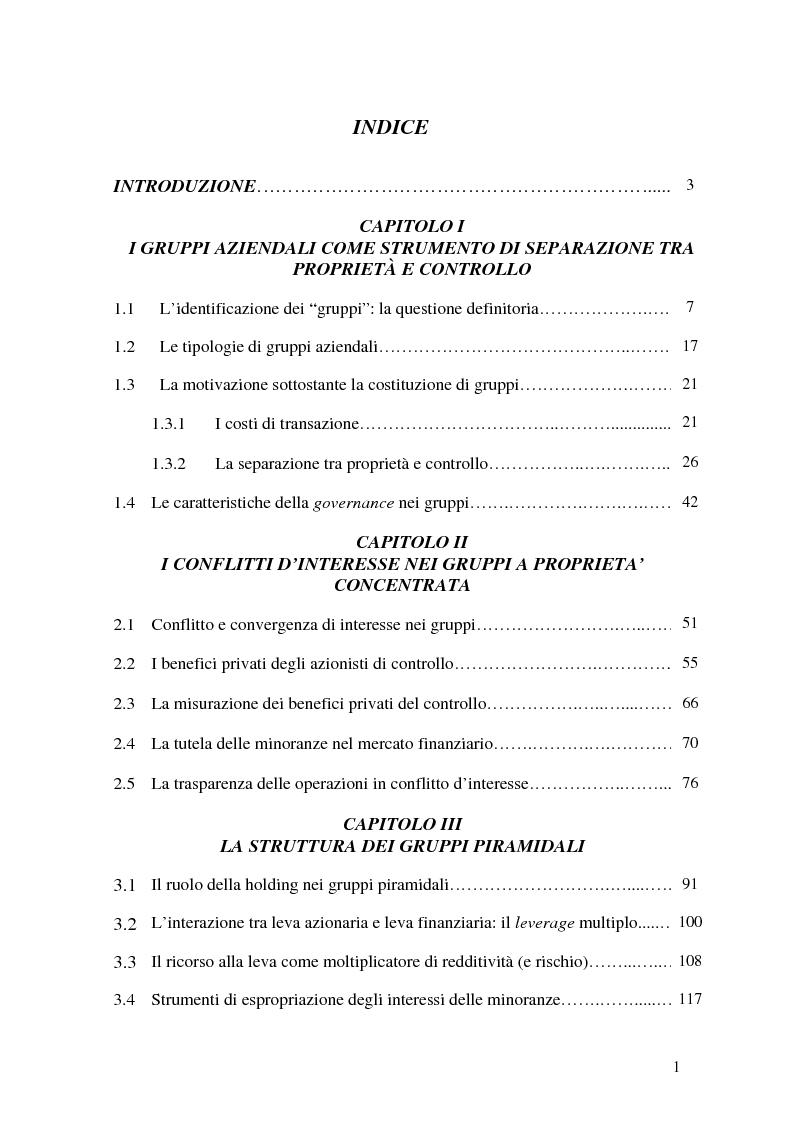 Indice della tesi: Struttura piramidale e patti parasociali nelle valutazioni di mercato delle imprese, Pagina 1