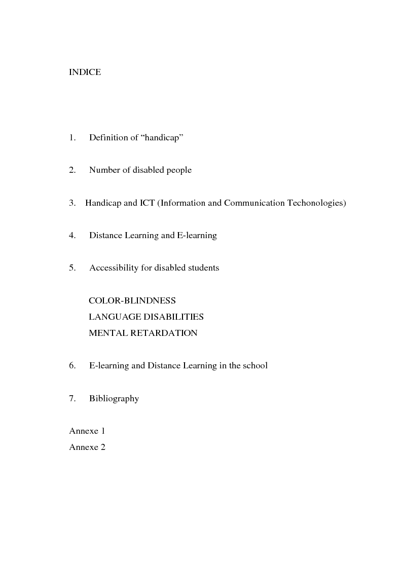 Indice della tesi: E-learning and Distance Learning for students with disabilities, Pagina 1