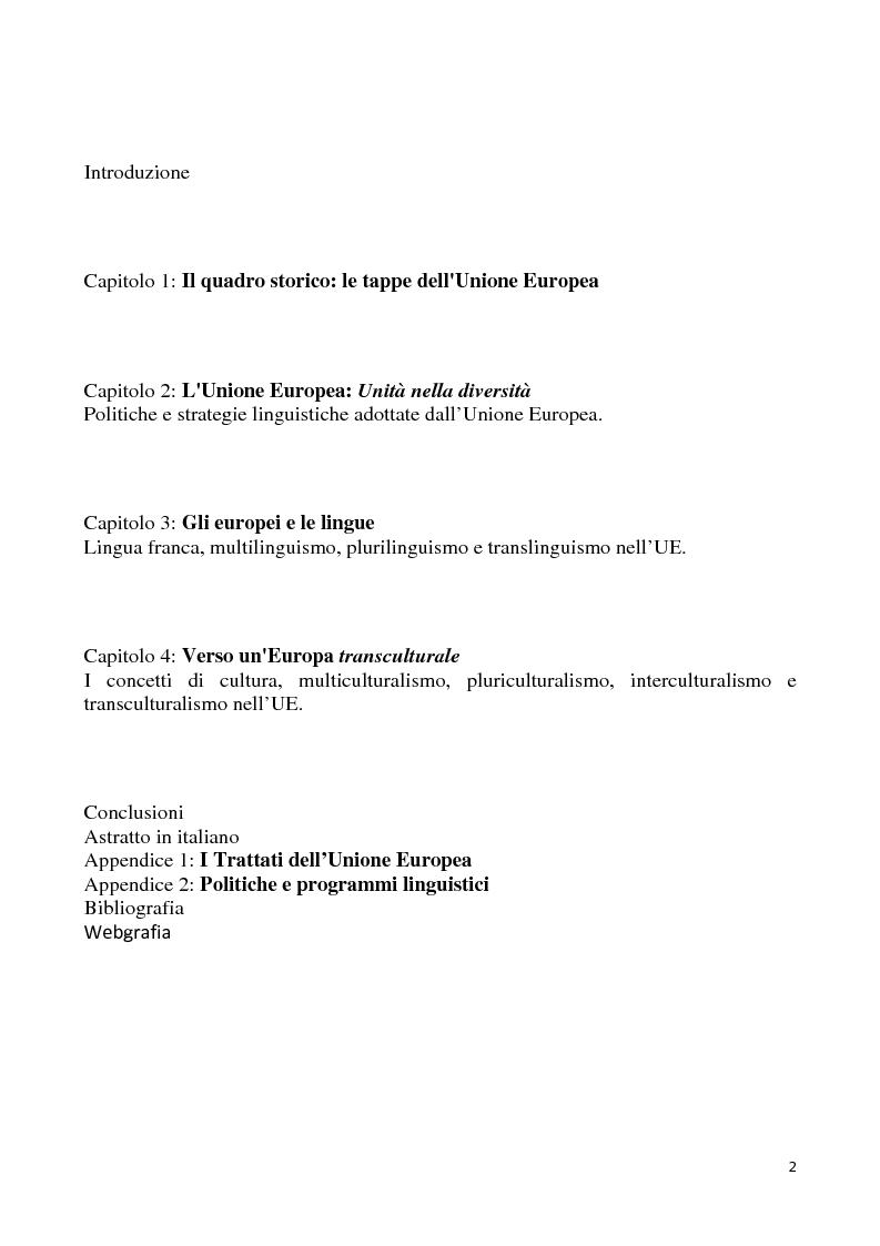 Indice della tesi: Dal multilinguismo al translinguismo: verso l'idea di una nuova Europa, Pagina 1