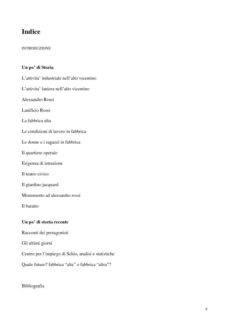 Indice della tesi: Lanerossi: quale eredità?, Pagina 1