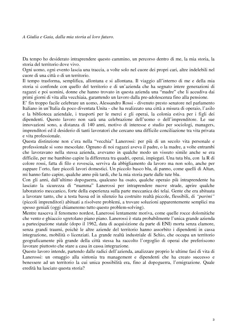Anteprima della tesi: Lanerossi: quale eredità?, Pagina 1