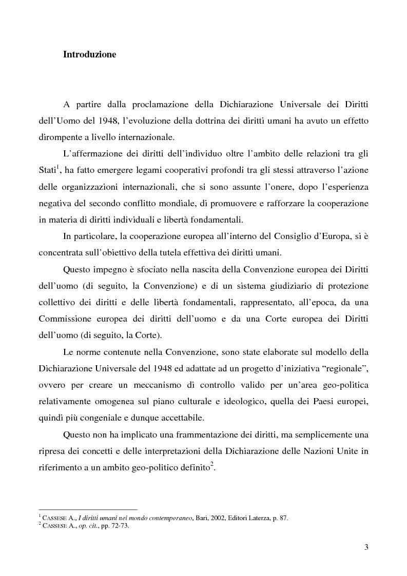 Anteprima della tesi: Il Protocollo n. 14 di riforma alla Convenzione europea dei Diritti dell'uomo: dimensione interna e prospettiva comparata, Pagina 1