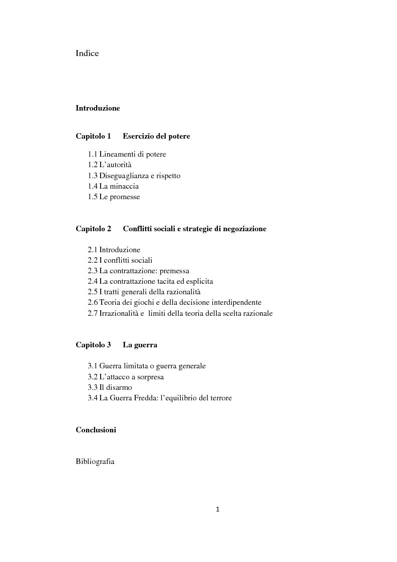 Indice della tesi: Potere e strategia, Pagina 1