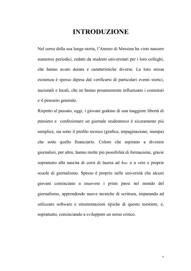 Anteprima della tesi: I giornali degli studenti universitari messinesi dal periodo fascista ai giorni nostri, Pagina 1