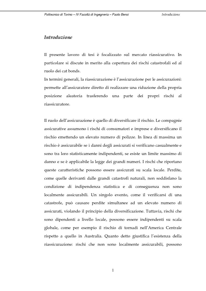 Mercato riassicurativo, copertura dei rischi catastrofali e ruolo dei cat bonds - Tesi di Laurea