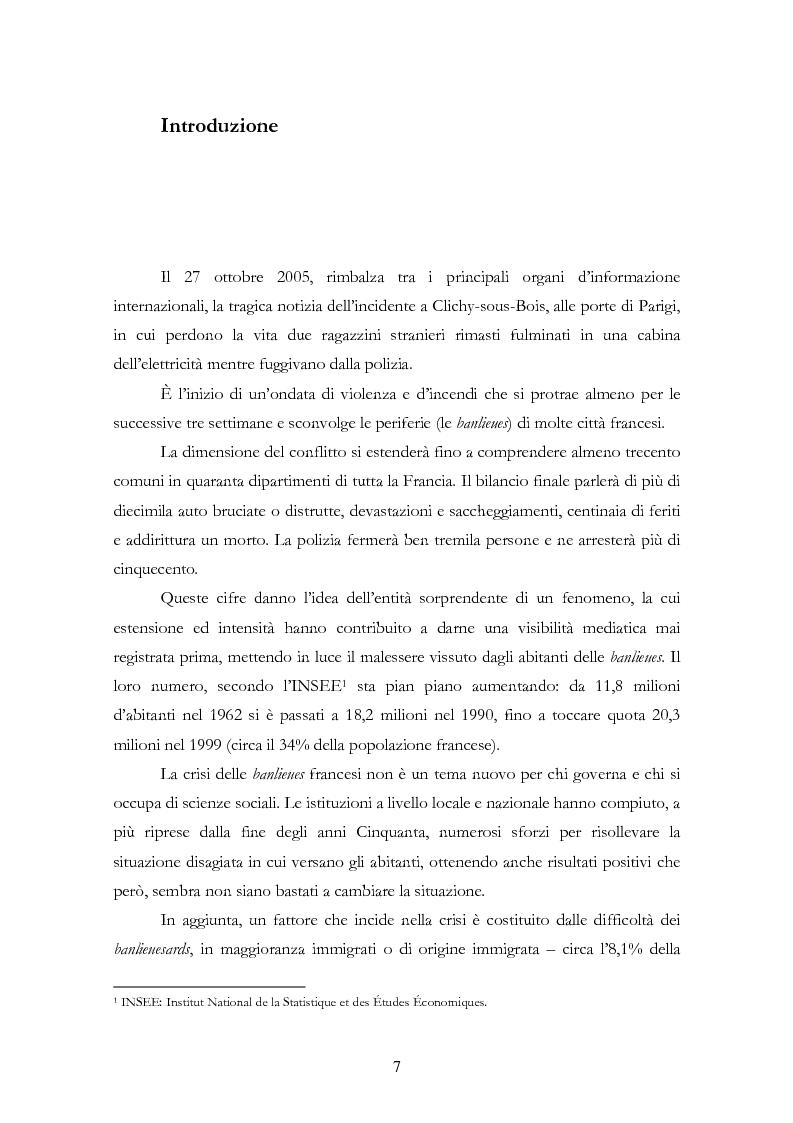 Anteprima della tesi: La rivolta del 2005 nelle banlieues francesi: analisi sociologica delle ragioni del conflitto, Pagina 1