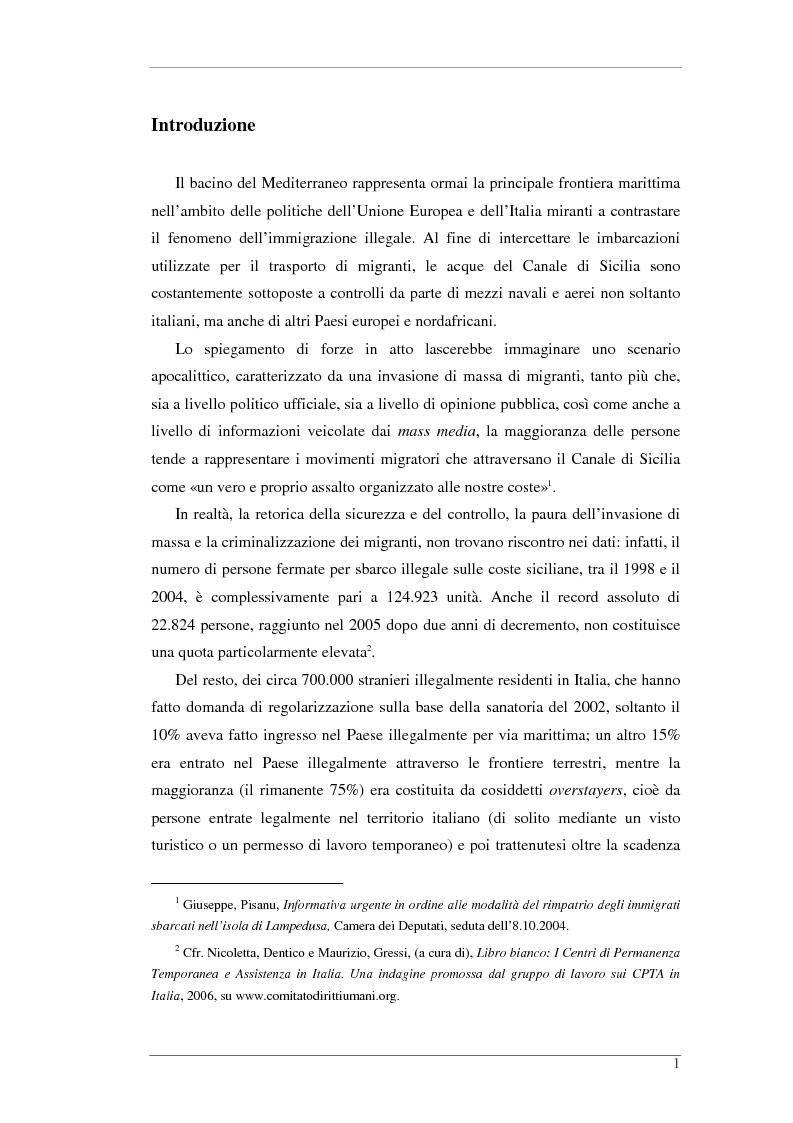 Anteprima della tesi: L'isola e il confine. I CPTA in Sicilia e il controllo dell'immigrazione., Pagina 1