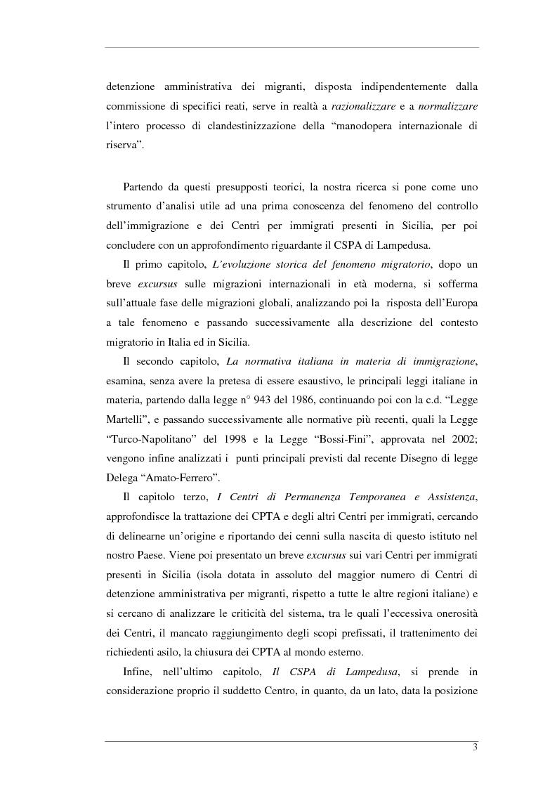 Anteprima della tesi: L'isola e il confine. I CPTA in Sicilia e il controllo dell'immigrazione., Pagina 3